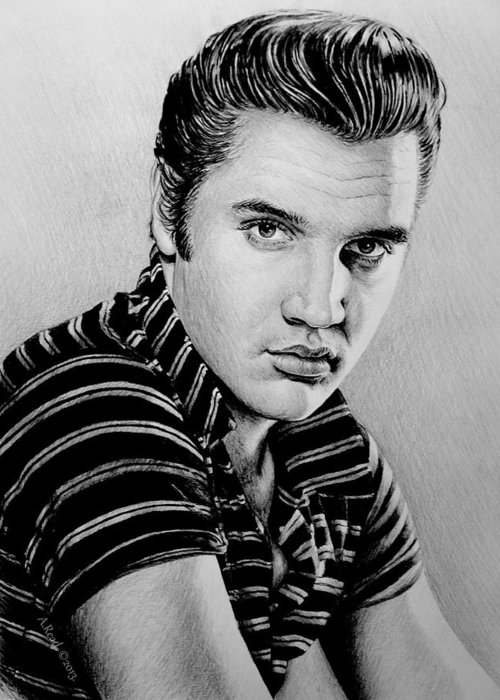 Elvis Greeting Card featuring the drawing Music Legends Elvis by Andrew Read