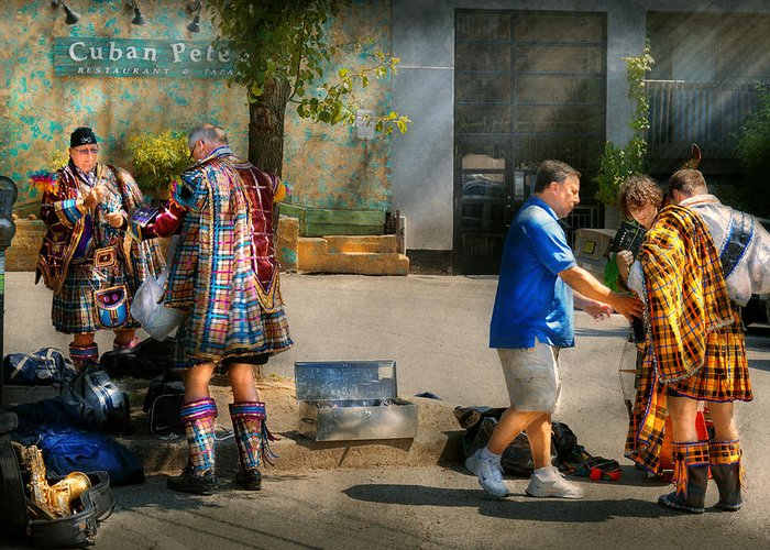 Name Greeting Card featuring the photograph Music - Mummers Preperation by Mike Savad