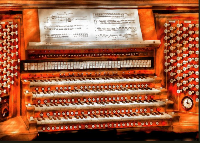 Savad Greeting Card featuring the photograph Music - Organist - The Pipe Organ by Mike Savad