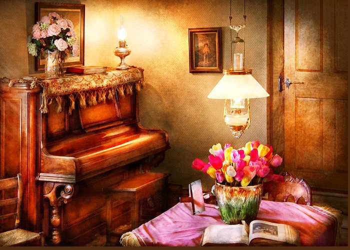 Hdr Greeting Card featuring the photograph Music - Piano - The Music Room by Mike Savad