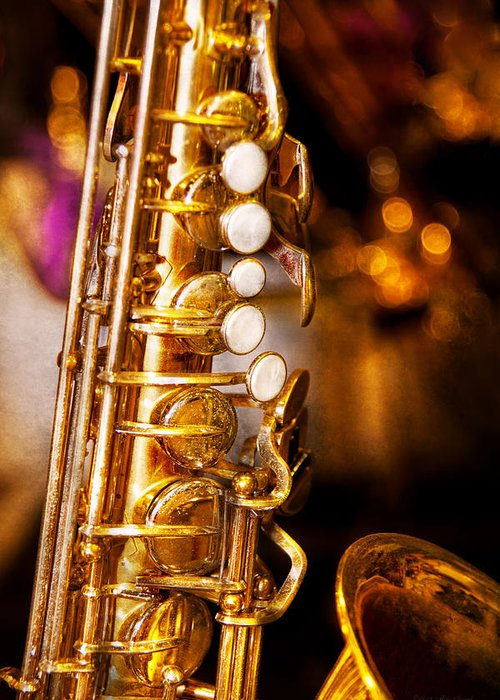 Savad Greeting Card featuring the photograph Music - Sax - Sweet Jazz by Mike Savad