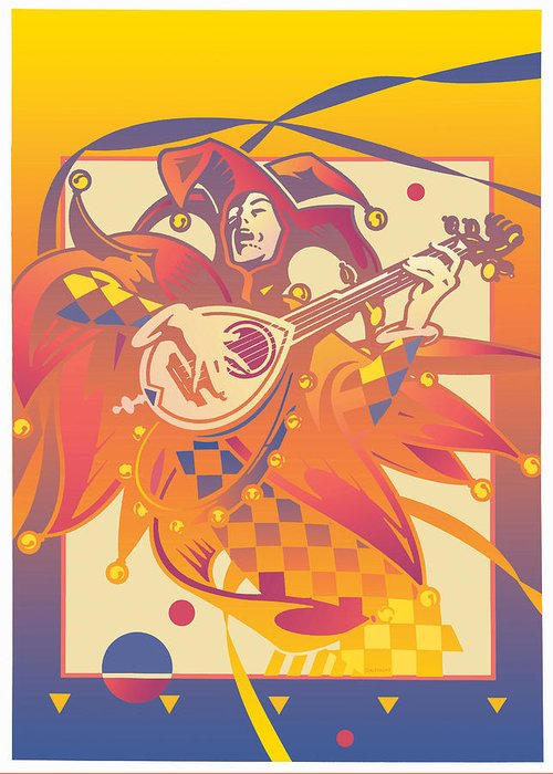 Musical Jester Playing A Lute Greeting Card featuring the digital art Musica Antiqua by David Chestnutt