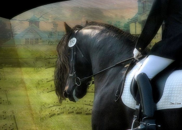 Friesian Horses Greeting Card featuring the digital art Musical Freestyle by Fran J Scott