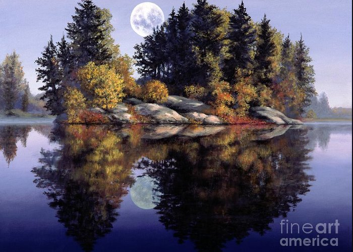 Muskoka Greeting Card featuring the painting Muskoka Moon by Michael Swanson