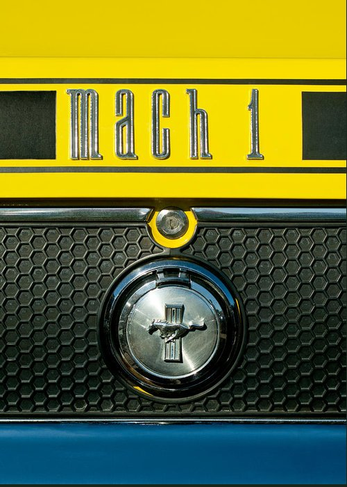 Mustang Mach 1 Greeting Card featuring the photograph Mustang Mach 1 Emblem 2 by Jill Reger