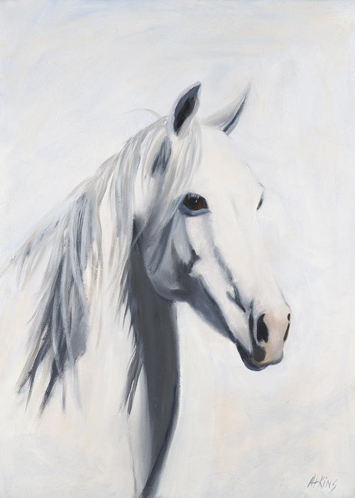 Horse Paintings Greeting Card featuring the painting Mustang Mama by Jack Atkins