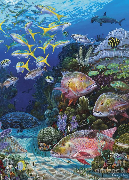 Mutton Greeting Card featuring the painting Mutton Reef Re002 by Carey Chen