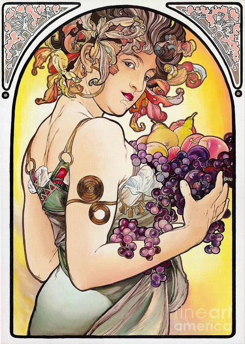 Youth Greeting Card featuring the painting My Acrylic Painting As An Interpretation Of The Famous Artwork By Alphonse Mucha - Fruit by Elena Yakubovich