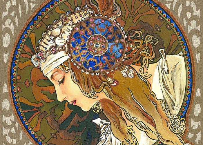 Yakubovich Greeting Card featuring the painting My Acrylic Painting As Interpretation Of Alphonse Mucha- Byzantine Head. The Blonde. Diagonal Frame. by Elena Yakubovich