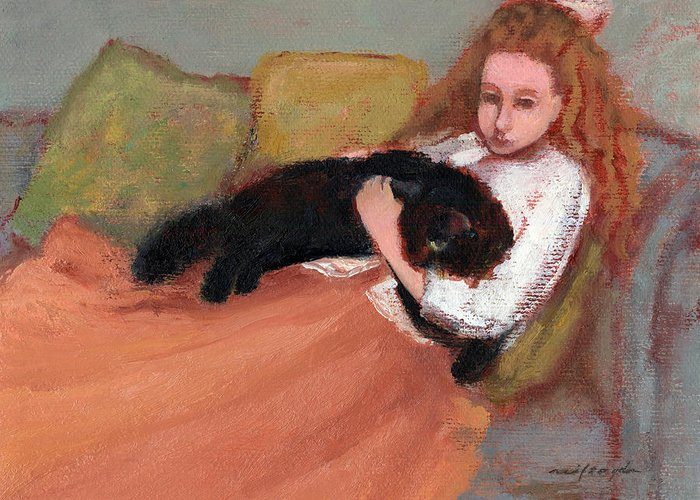 Black Cat Art Greeting Card featuring the painting My Black Cat by J Reifsnyder