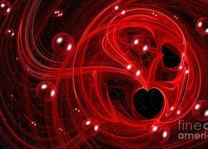 Fractal Greeting Card featuring the digital art My Cosmic Valentine by Peggy Hughes