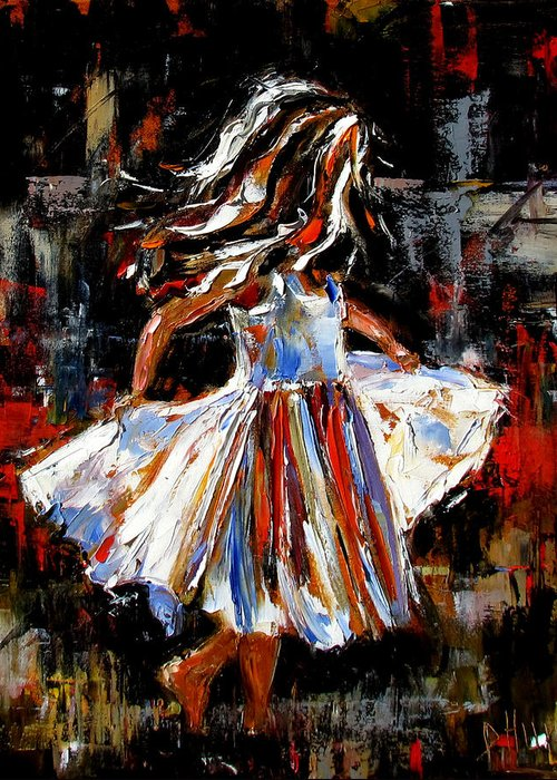 Child Greeting Card featuring the painting My Dress by Debra Hurd