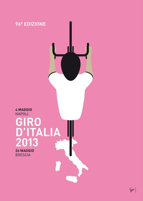 2013 Greeting Card featuring the digital art My Giro D'italia Minimal Poster by Chungkong Art