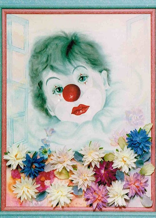 Clown Greeting Card featuring the painting My Heart My Tears by Takami