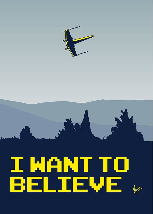 Classic Greeting Card featuring the digital art My I Want To Believe Minimal Poster- Xwing by Chungkong Art