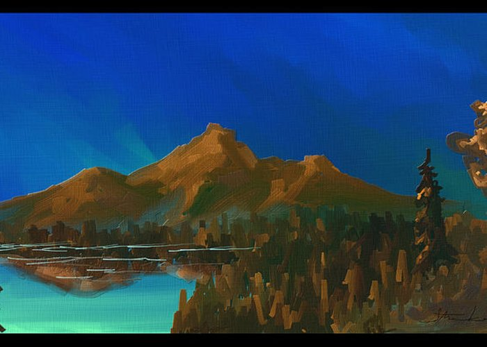 Mountain Greeting Card featuring the painting My Kind Of Peace by Steven Lebron Langston