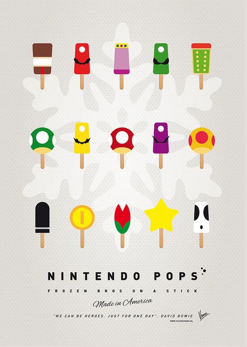 Mario Greeting Card featuring the digital art My Mario Ice Pop - Univers by Chungkong Art