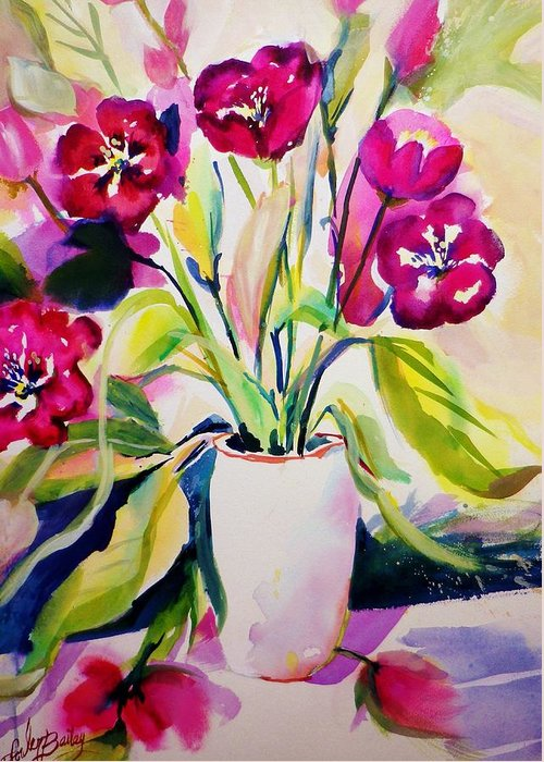 Flowers Greeting Card featuring the painting My Morning Tulips Opened Sold Original by Therese Fowler-Bailey