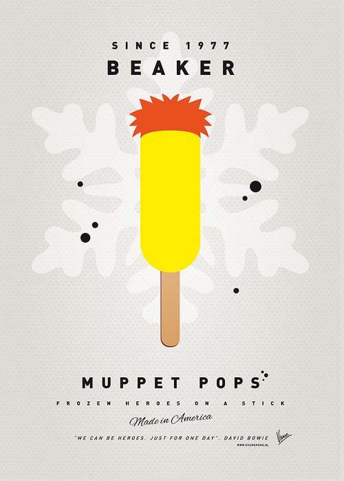Muppets Greeting Card featuring the digital art My Muppet Ice Pop - Beaker by Chungkong Art
