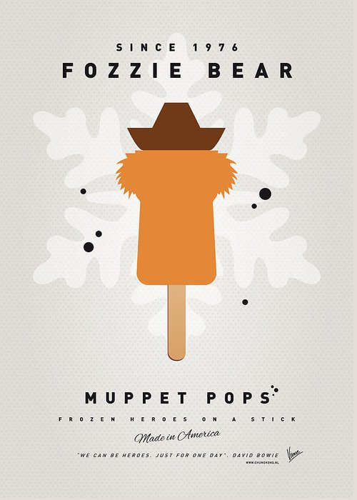 Muppets Greeting Card featuring the digital art My Muppet Ice Pop - Fozzie Bear by Chungkong Art