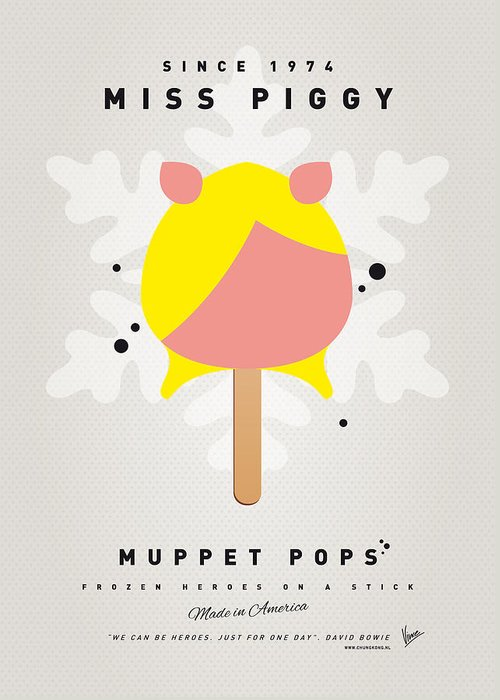 Muppets Greeting Card featuring the digital art My Muppet Ice Pop - Miss Piggy by Chungkong Art