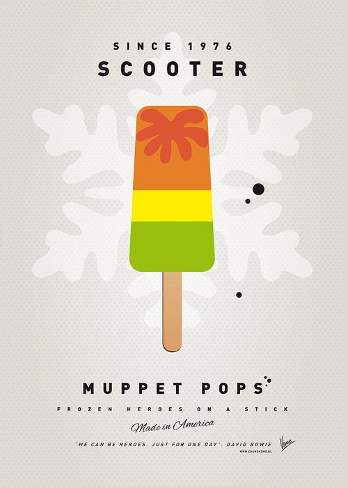 Muppets Greeting Card featuring the digital art My Muppet Ice Pop - Scooter by Chungkong Art