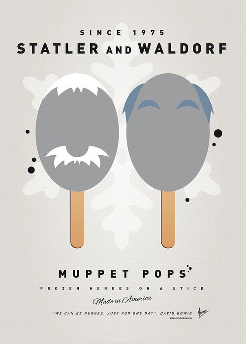 Statler Greeting Card featuring the digital art My Muppet Ice Pop - Statler And Waldorf by Chungkong Art