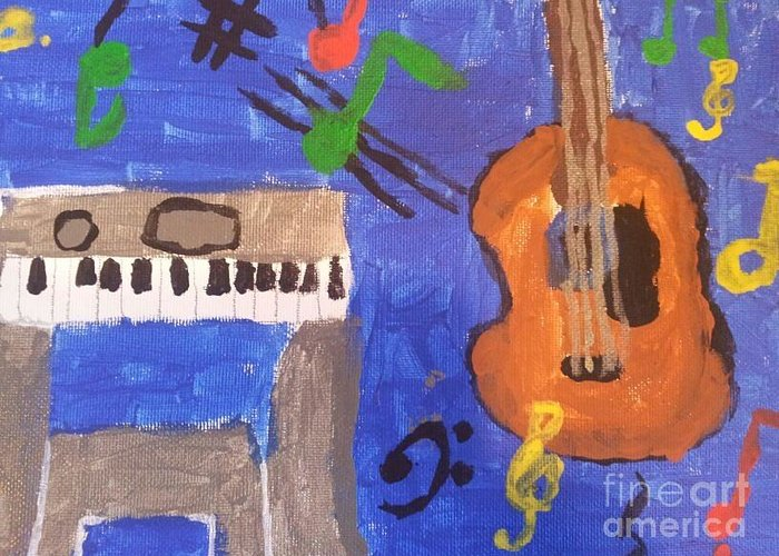 Guitar Greeting Card featuring the painting My Musical World by Epic Luis Art