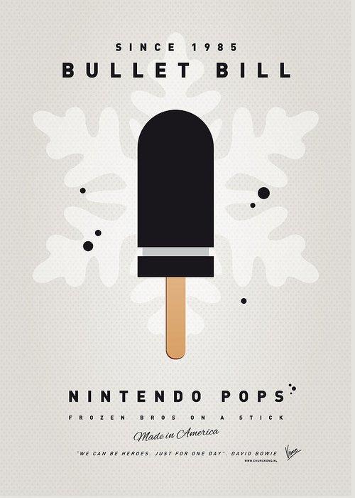 1 Up Greeting Card featuring the digital art My Nintendo Ice Pop - Bullet Bill by Chungkong Art