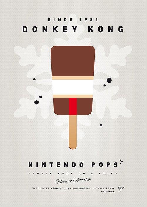1 Up Greeting Card featuring the digital art My Nintendo Ice Pop - Donkey Kong by Chungkong Art