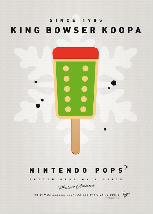 1 Up Greeting Card featuring the digital art My Nintendo Ice Pop - King Bowser by Chungkong Art
