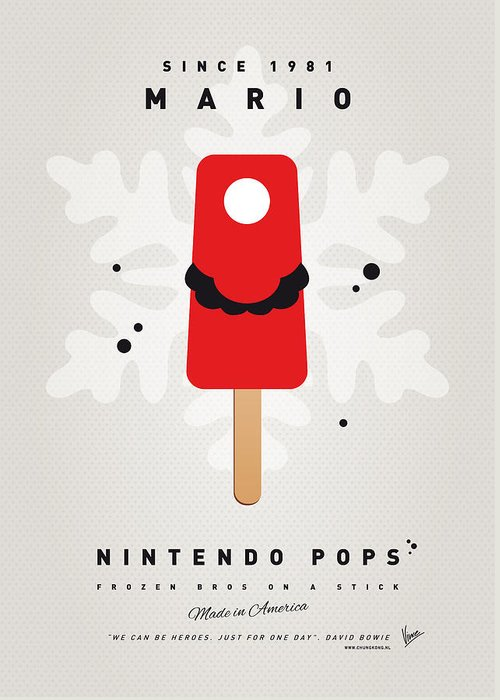 1 Up Greeting Card featuring the digital art My Nintendo Ice Pop - Mario by Chungkong Art