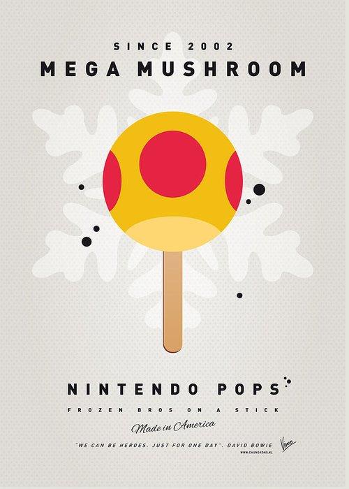 1 Up Greeting Card featuring the digital art My Nintendo Ice Pop - Mega Mushroom by Chungkong Art