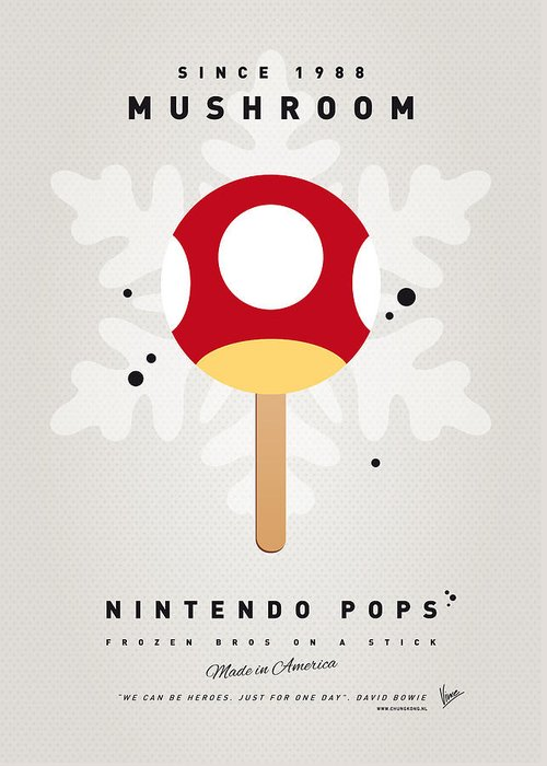 1 Up Greeting Card featuring the digital art My Nintendo Ice Pop - Mushroom by Chungkong Art