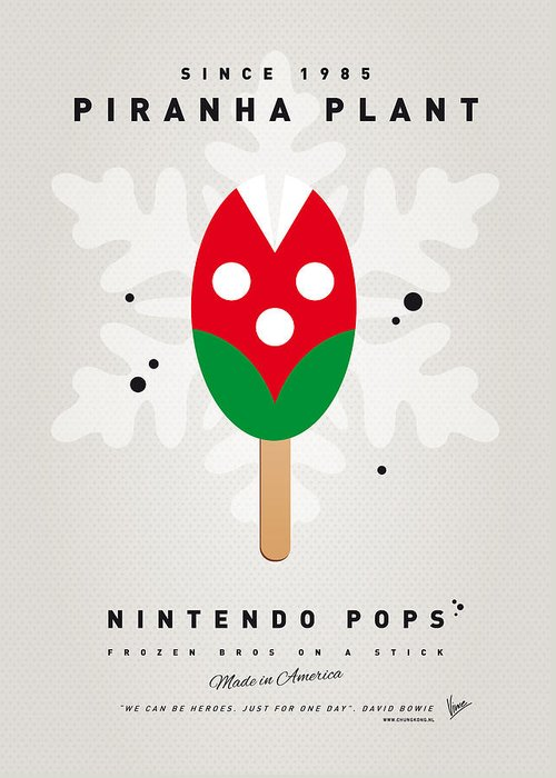 1 Up Greeting Card featuring the digital art My Nintendo Ice Pop - Piranha Plant by Chungkong Art