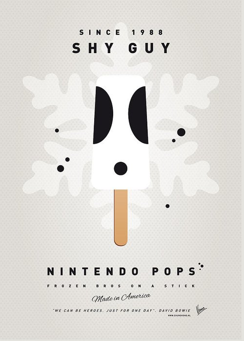 1 Up Greeting Card featuring the digital art My Nintendo Ice Pop - Shy Guy by Chungkong Art