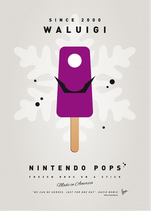 1 Up Greeting Card featuring the digital art My Nintendo Ice Pop - Waluigi by Chungkong Art