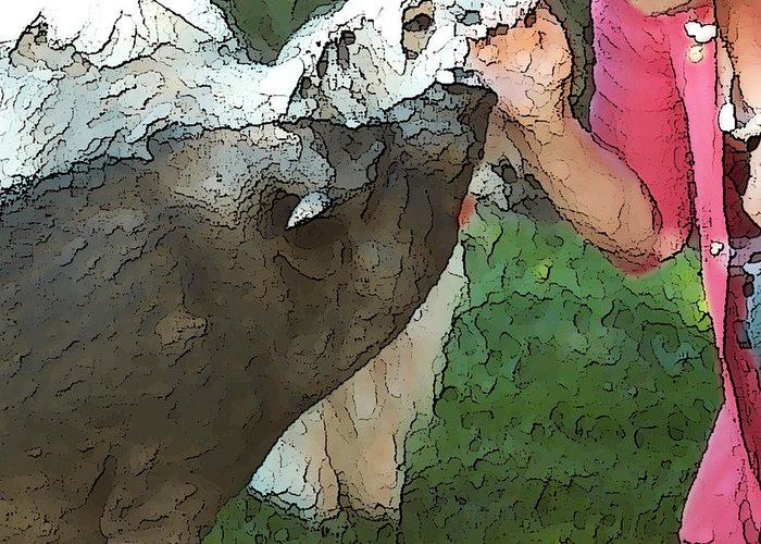 Pig Greeting Card featuring the digital art My Pig And Dog Friends by Artist and Photographer Laura Wrede