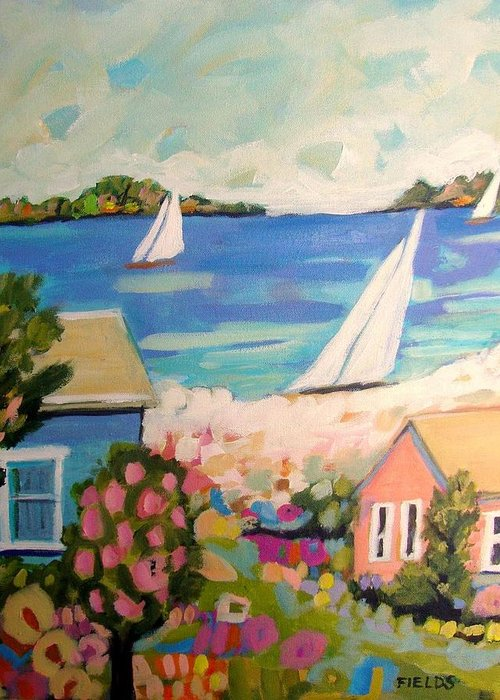 Sailboats Greeting Card featuring the painting My Pink Hibiscus Tree by Karen Fields