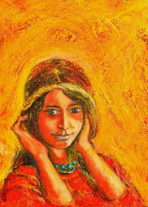 Portrait Greeting Card featuring the painting My Princess by ITI Ion Vincent Danu
