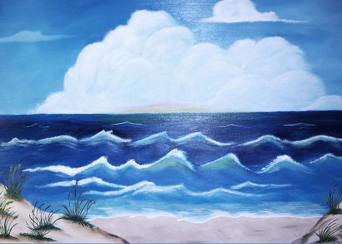 Ocean Greeting Card featuring the painting My Private Beach by Dwayne Barnes