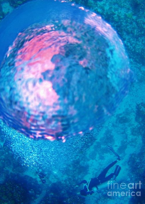 Fish Greeting Card featuring the painting My Reflection In A Divers Bubble by John Malone