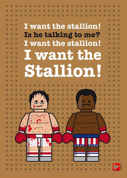 Rocky Greeting Card featuring the digital art My Rocky Lego Dialogue Poster by Chungkong Art