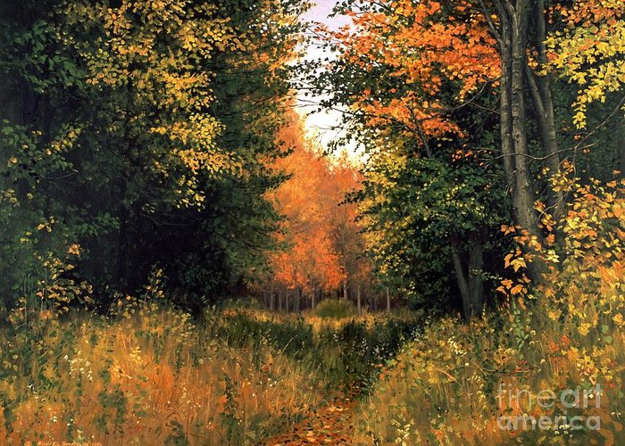 Autumn Landscape Greeting Card featuring the painting My Secret Autumn Place by Michael Swanson