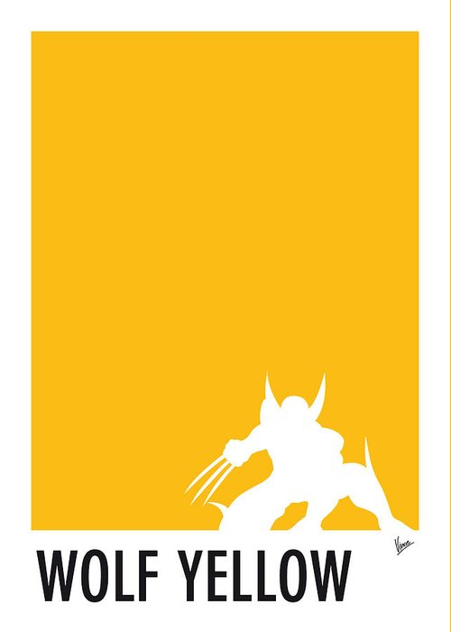 Superheroes Greeting Card featuring the digital art My Superhero 05 Wolf Yellow Minimal poster by Chungkong Art