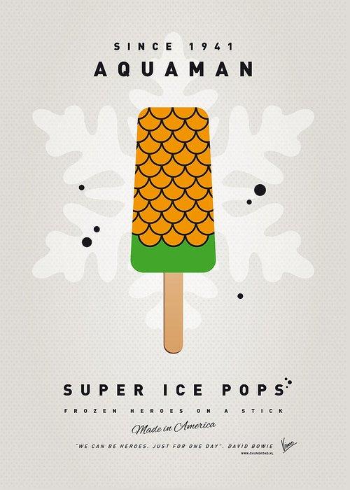 Superheroes Greeting Card featuring the digital art My Superhero Ice Pop - Aquaman by Chungkong Art