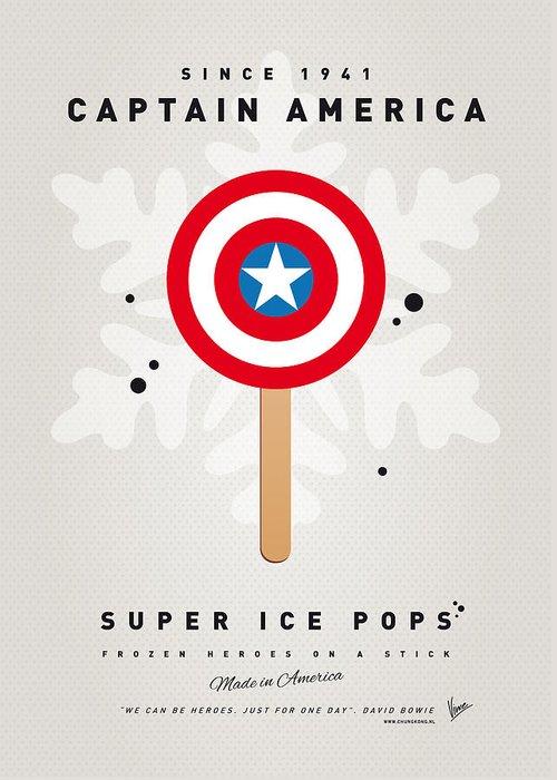 Superheroes Greeting Card featuring the digital art My SUPERHERO ICE POP - Captain America by Chungkong Art