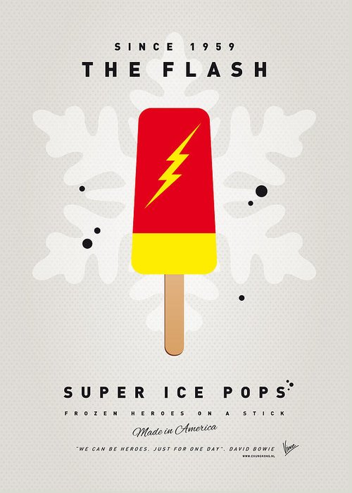 Superheroes Greeting Card featuring the digital art My Superhero Ice Pop - The Flash by Chungkong Art