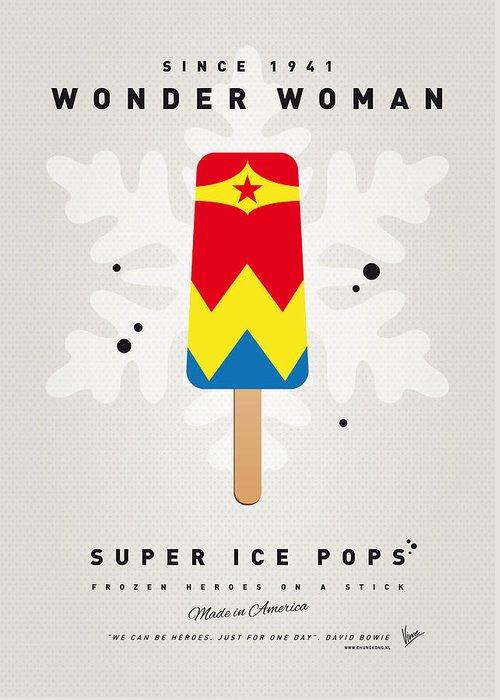 Superheroes Greeting Card featuring the digital art My SUPERHERO ICE POP - Wonder Woman by Chungkong Art