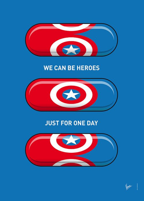 Superheroes Greeting Card featuring the digital art My SUPERHERO PILLS - Captain America by Chungkong Art